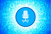 Office Chair Icon on Business and Finance Vector Background
