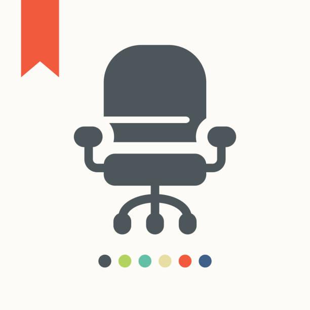 büro-stuhl-symbol - stuhllehnen stock-grafiken, -clipart, -cartoons und -symbole