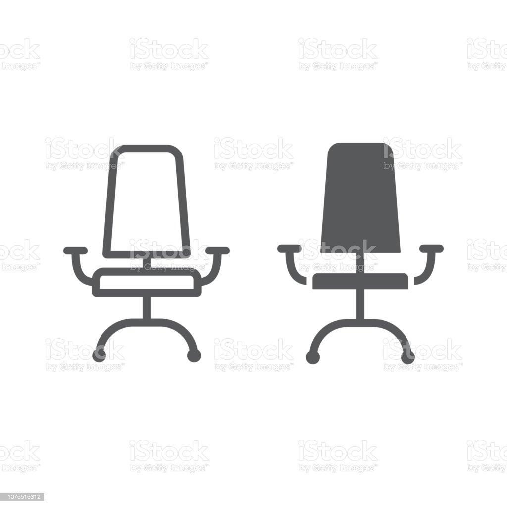 Icne De Ligne Et Le Glyphe Chaise Bureau Mobilier Fauteuil Signe