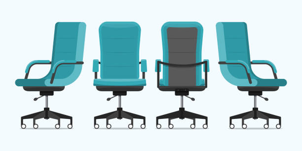 Office chair or desk chair in various points of view. Armchair or stool in front, back, side angles. Blue furniture for Interior in flat design. Office chair or desk chair in various points of view. Armchair or stool in front, back, side angles. Blue furniture for Interior in flat design. Vector illustration. office chair stock illustrations