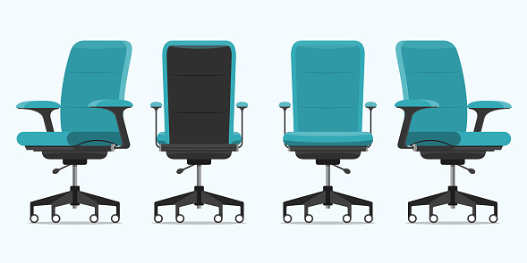 Office chair or desk chair in various points of view. Armchair or stool in front, back, side view. Blue furniture for Interior in flat design. Vector.