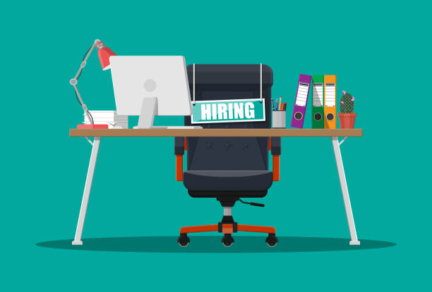 Office chair, sign vacancy, box with office itmes Office chair, sign vacancy. Table with office items. Hiring and recruiting. Human resources management concept, searching professional staff work. Found right resume. Vector illustration in flat style vacancy stock illustrations