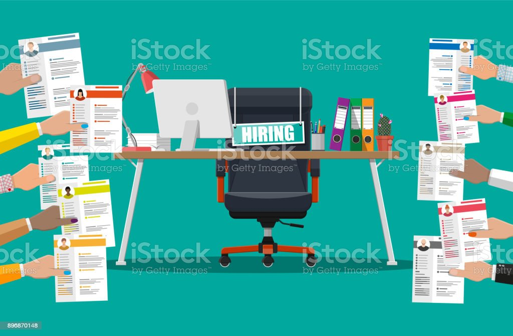 Office chair, sign vacancy, box with office itmes vector art illustration