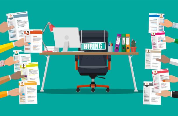 ilustrações de stock, clip art, desenhos animados e ícones de office chair, sign vacancy, box with office itmes - job interview