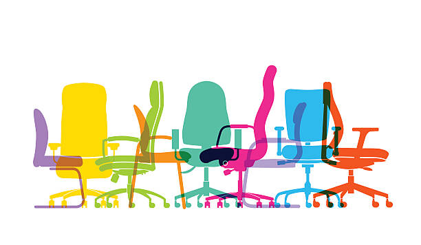 office chairs Colourful overlapping silhouettes of office chairs. EPS10 file, best in RGB, CS5 versions in zip office chair stock illustrations