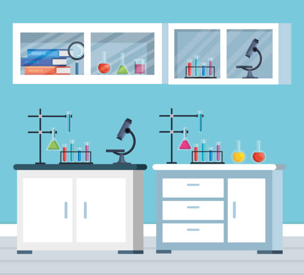 office chemistry with microscope and tubes test vector art illustration