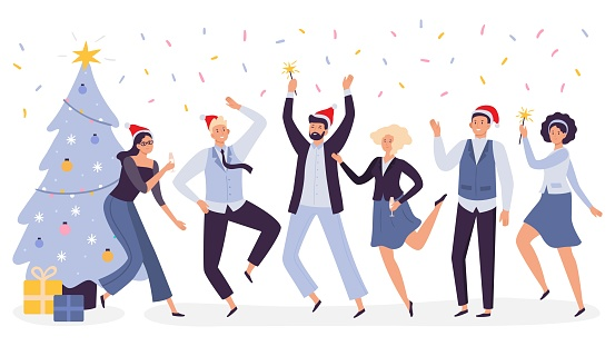 Office Christmas celebration. Happy business team workers corporate party, celebrate New Year in xmas hats vector illustration