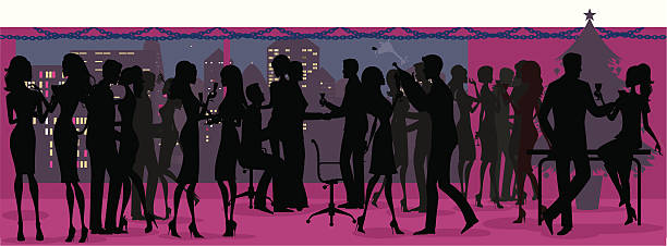 office christmas party silhouette - office party stock illustrations, clip art, cartoons, & icons