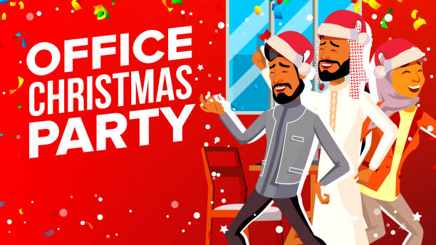 office christmas party vector. celebrating new year. group people in santa hat. cartoon illustration - office party stock illustrations, clip art, cartoons, & icons