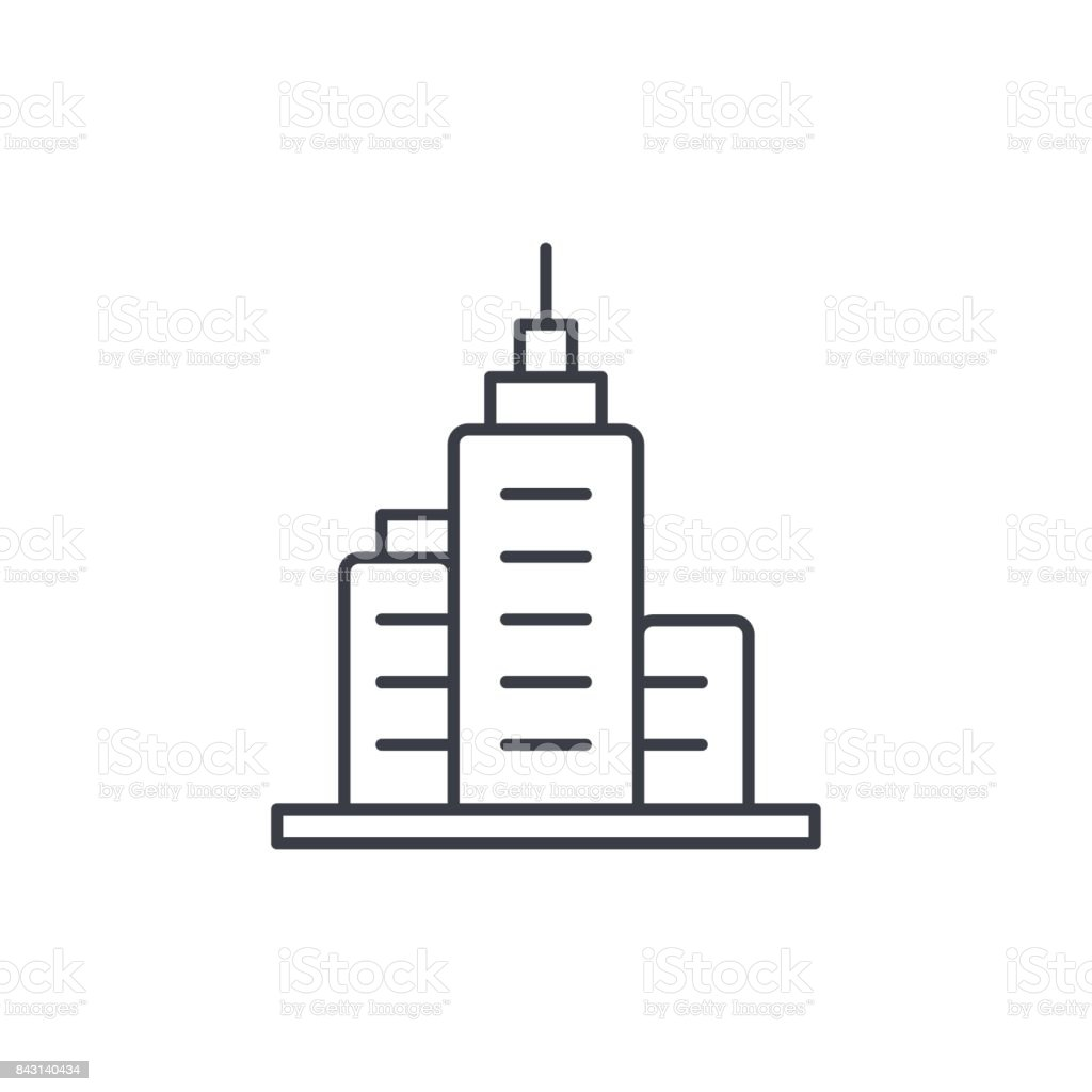 office city building, urban skyscraper thin line icon. Linear vector symbol royalty-free office city building urban skyscraper thin line icon linear vector symbol stock illustration - download image now