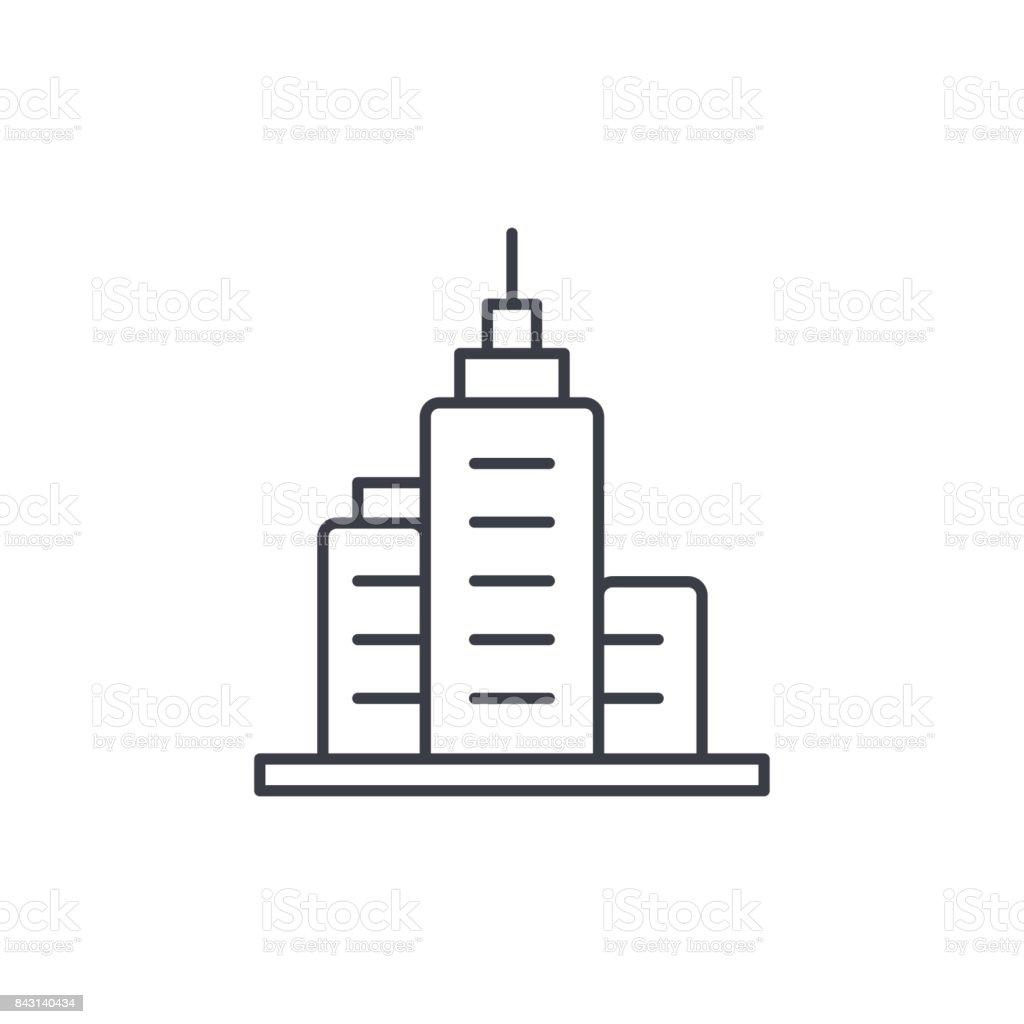 Büro Stadt Gebäude, urbanen Wolkenkratzer dünne Liniensymbol. Linearer Vektor-symbol – Vektorgrafik