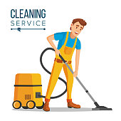 Office Cleaner Vector. Work Wiping, Dusting, Vacuuming Floor Carpets. Sanitation And Cleaner Washing. Isolated Flat Cartoon Character Illustration