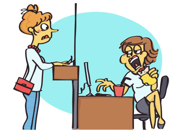 Office clerk acting bad Funny vector cartoons of office clerk acting bad and unprofessional with clients female sandwich stock illustrations