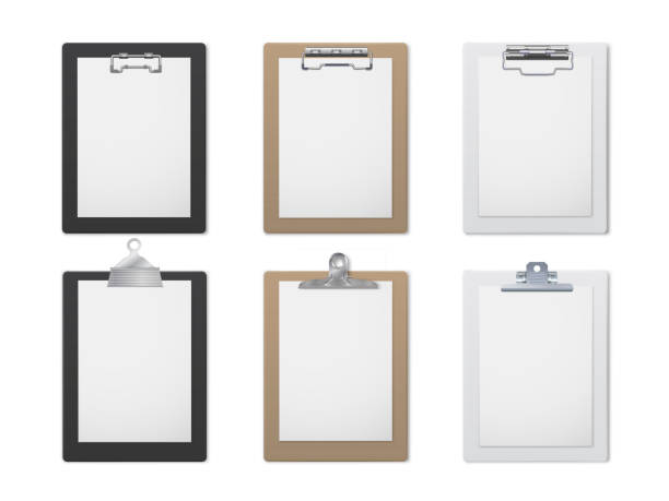 Office clipboard realistic set, document and paper holder vector art illustration