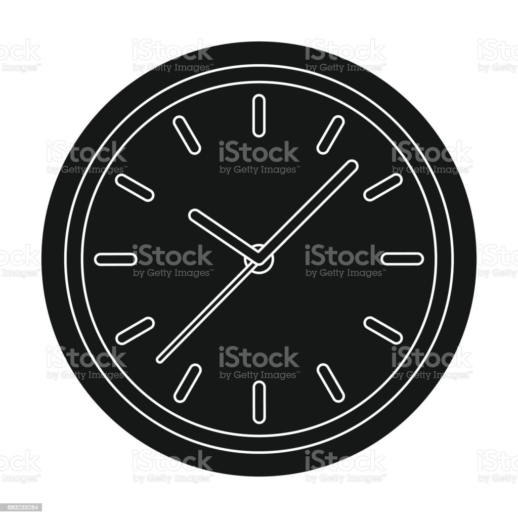 Office clock icon in black style isolated on white background. Office furniture and interior symbol stock vector illustration. 免版稅 office clock icon in black style isolated on white background office furniture and interior symbol stock vector illustration 向量插圖及更多 傢俱 圖片
