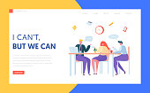 Office Coffee Break Landing Page. Business Character Team on Lunch Meeting. Creative Staff Chat Together at Workplace Concept for Website or Web Page. Flat Character Vector Illustration