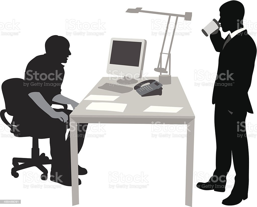 Office Coffee Vector Silhouette royalty-free stock vector art