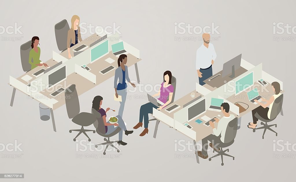 Office Collaboration Illustration People collaborate in an open-plan office space. A diverse, creative team of women and men collaborate over laptops and large monitors, while one man uses a stand-up desk. The vector illustration represents a familiar modern scene, and is presented in isometric view. Adult stock vector