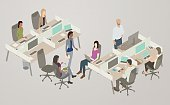 People collaborate in an open-plan office space. A diverse, creative team of women and men collaborate over laptops and large monitors, while one man uses a stand-up desk. The vector illustration represents a familiar modern scene, and is presented in isometric view.