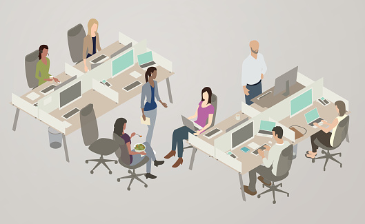 Office Collaboration Illustration Stock Illustration - Download Image Now