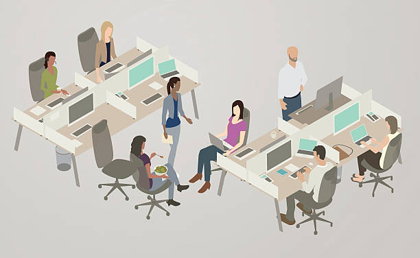 office collaboration illustration - office job stock illustrations, clip art, cartoons, & icons