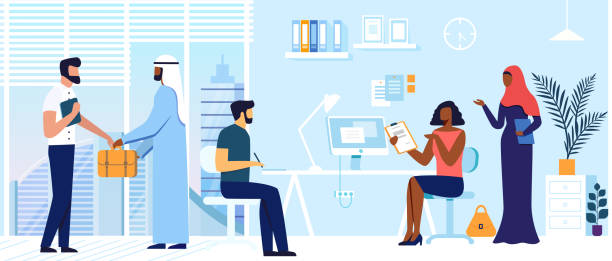 Office Colleagues Coworking Vector Illustration