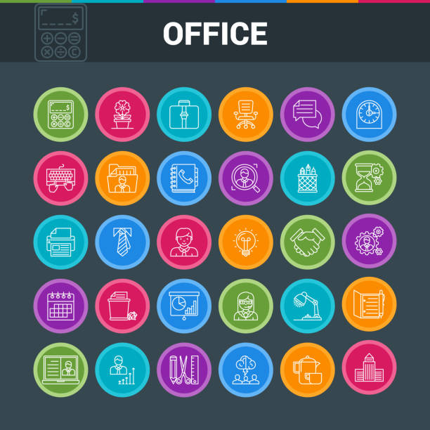 illustrazioni stock, clip art, cartoni animati e icone di tendenza di office colorful icons - appalti pubblici