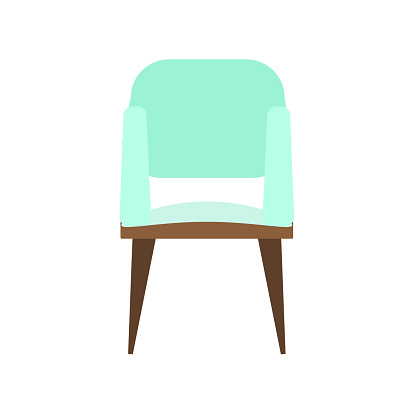 Office comfortable chair in light green color, isolated on a white background. Vector illustration in flat style. Collection of furniture for home and office