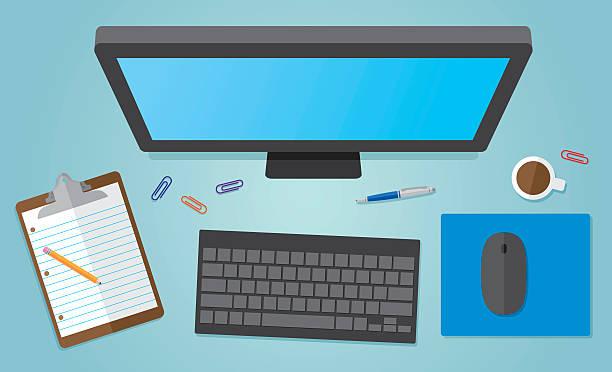 büro-computer  - arbeit von zu hause aus stock-grafiken, -clipart, -cartoons und -symbole