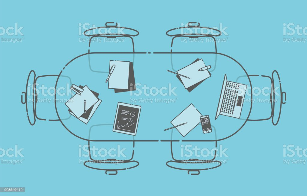 Office Conference Table vector art illustration