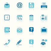 office & contacts icon set I sky reflection