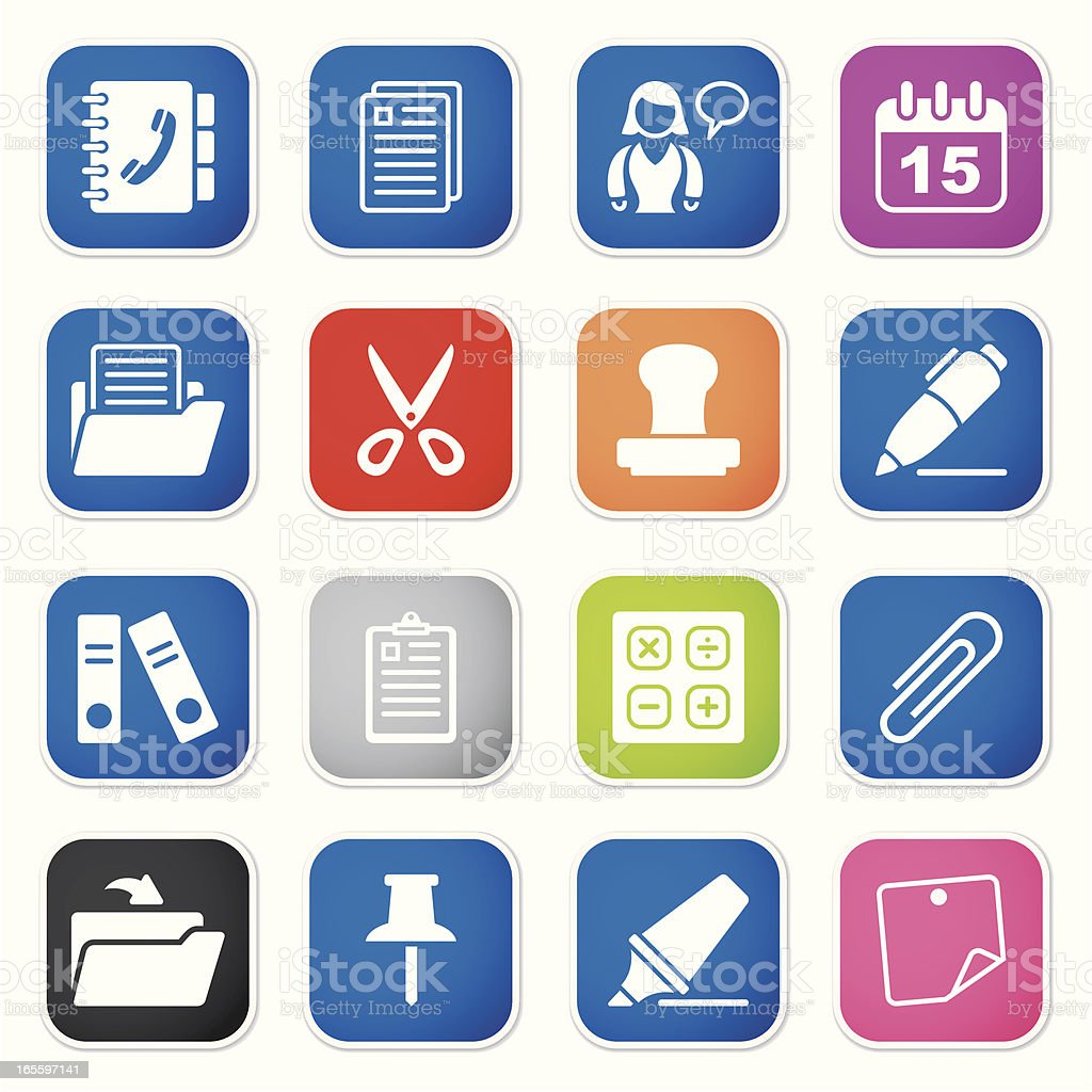 office & contacts icon set II sq stickers royalty-free office contacts icon set ii sq stickers stock vector art & more images of adhesive note