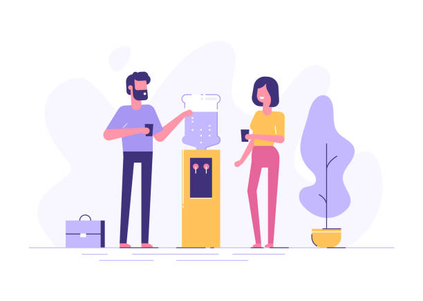 Office cooler chat. Vector flat character design on man and woman talking to each other near office water cooler. Office cooler chat. Vector flat character design on man and woman talking to each other near office water cooler. colleague stock illustrations