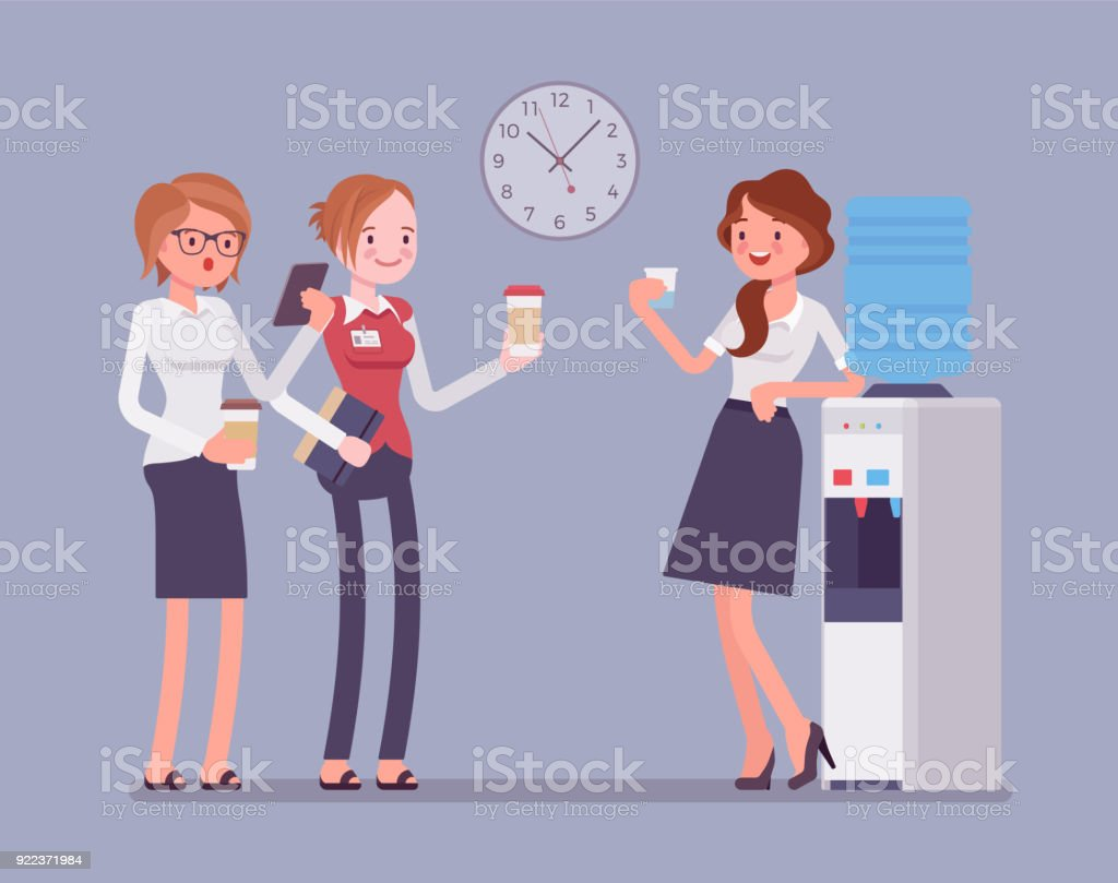 Office cooler chat vector art illustration