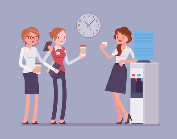 stockillustraties, clipart, cartoons en iconen met office koeler chat - woman water