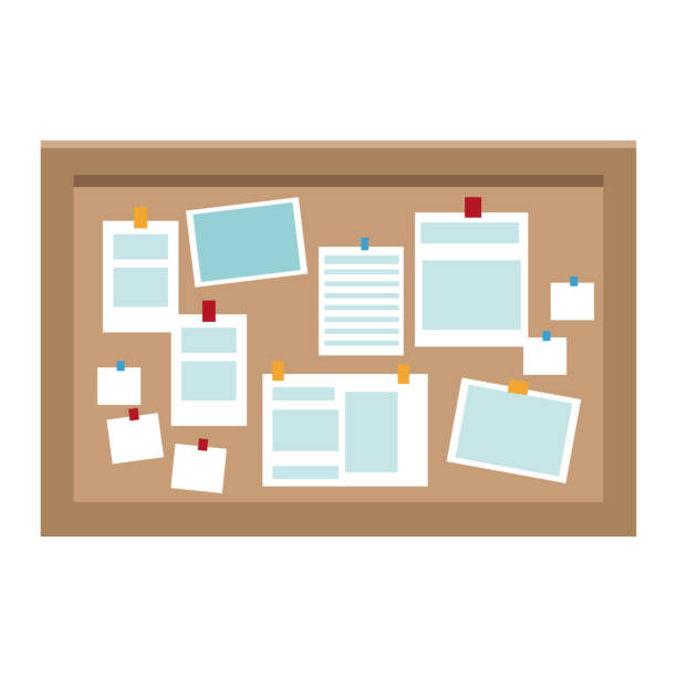 büro-pinnwand - anschlagbrett stock-grafiken, -clipart, -cartoons und -symbole