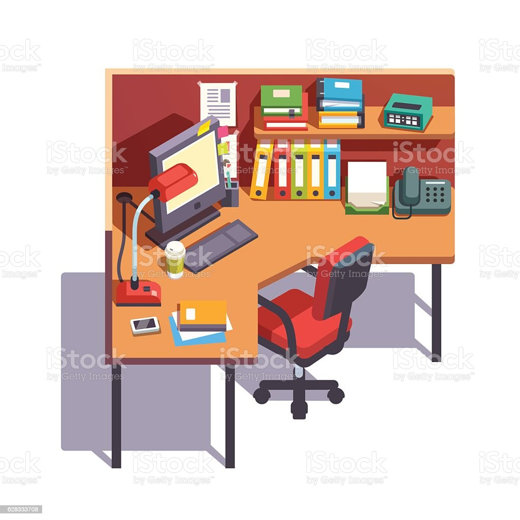 office working table. Office Cubicle Working Desk With Desktop Computer \u2013 Cliparts Table