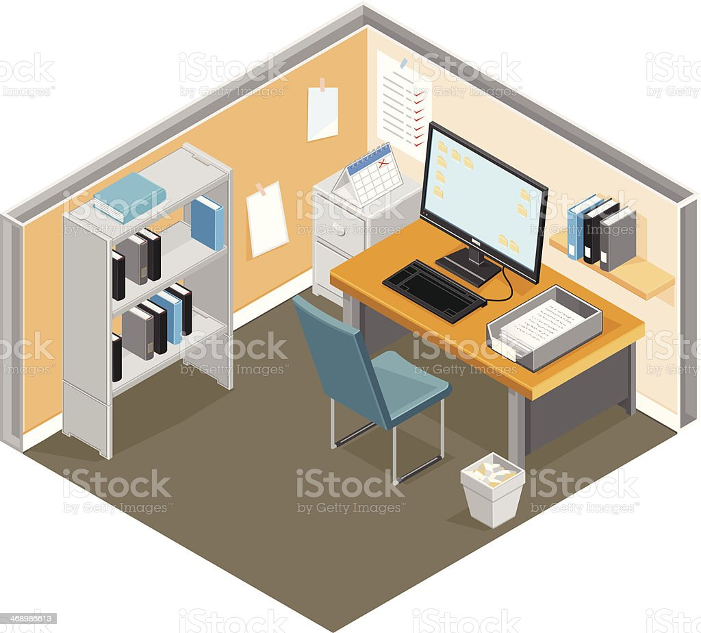 Office Cubicle Workspace vector art illustration