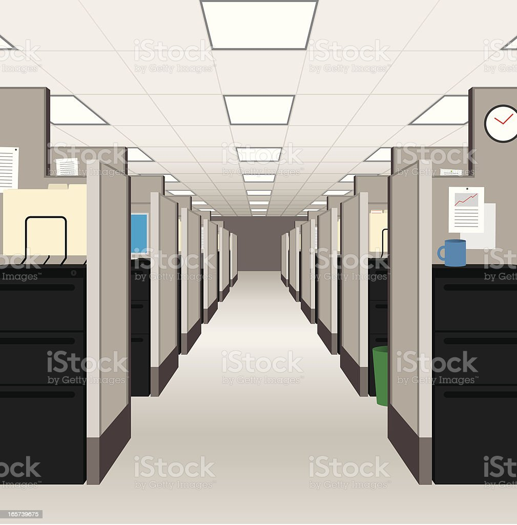Office Cubicles vector art illustration