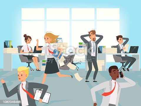 istock Office deadline. Business workers managers stress running on workplaces at work vector characters 1082046488
