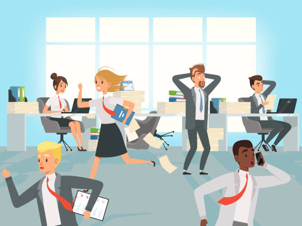 Office deadline. Business workers managers stress running on workplaces at work vector characters Office deadline. Business workers managers stress running on workplaces at work vector characters. Illustration of office stress, business workplace overworked stock illustrations