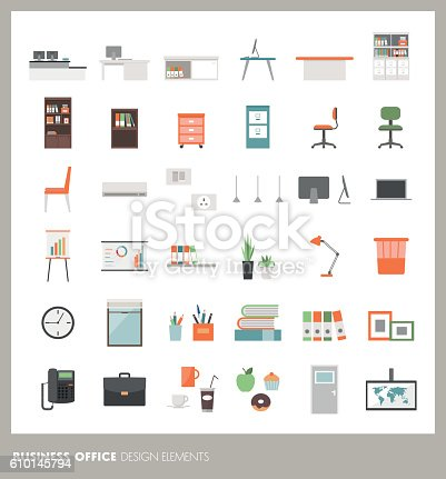 Business office icons set: objects, furnishings, decorations and electronics