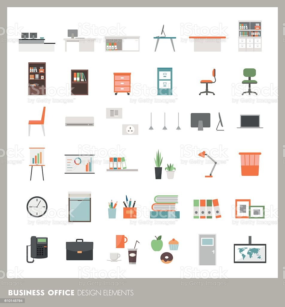 Office design elements vector art illustration