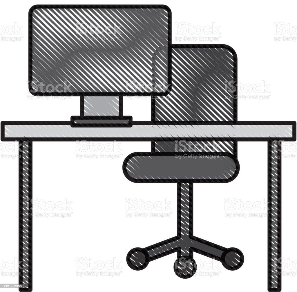 Buro Schreibtisch Computer Stuhl Mobel Arbeitsbereich Stock Vektor Art Und Mehr Bilder Von Arbeitsstatten Istock
