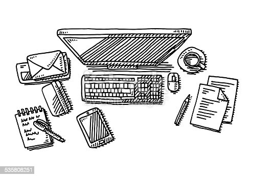 Hand-drawn vector drawing of an Office Desk with a Computer Monitor, Keyboard, a Cup of Coffee, a Smart Phone, Documents, Letters and Pens. Black-and-White sketch on a transparent background (.eps-file). Included files are EPS (v10) and Hi-Res JPG.