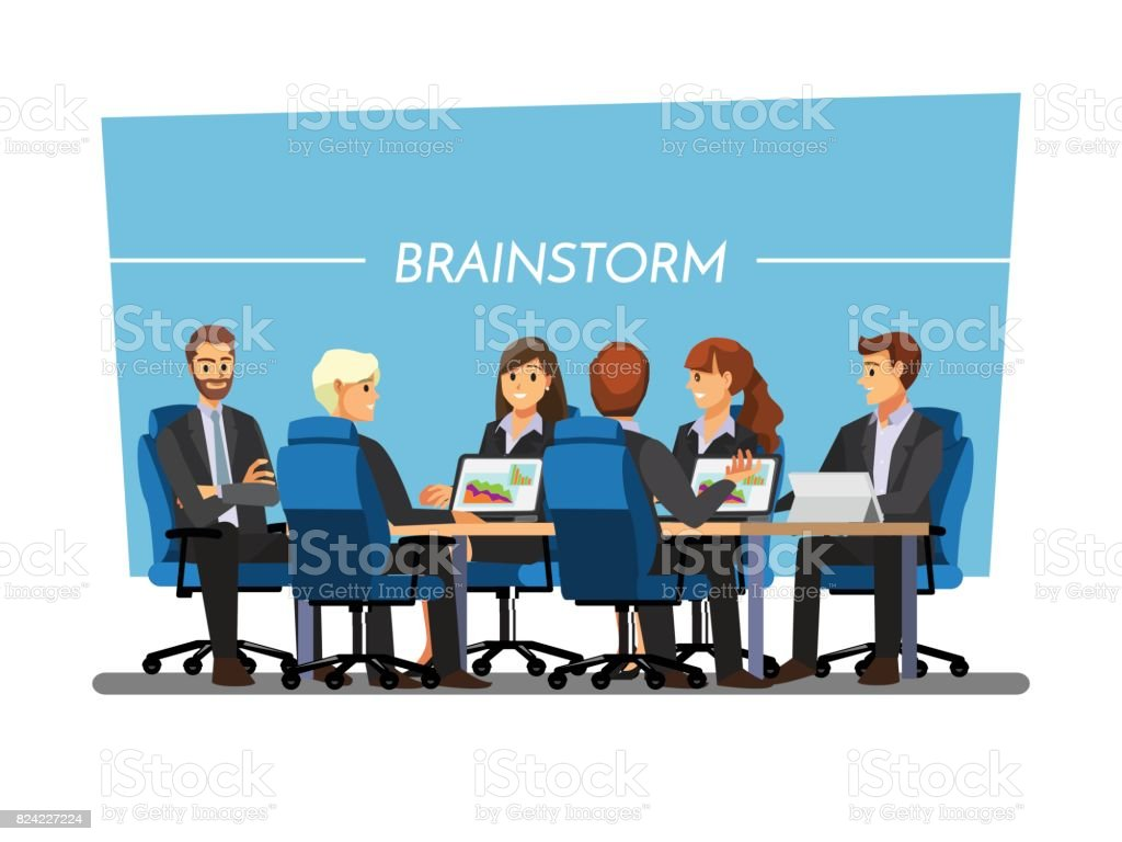 Office desk for team planning and working ,Vector illustration cartoon character. vector art illustration