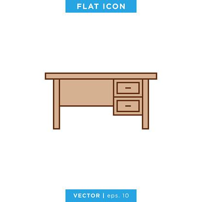 Office Desk Icon Vector Stock Illustration Design Template.