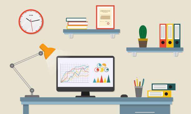 illustrazioni stock, clip art, cartoni animati e icone di tendenza di office desk or table with computer. business workspace or interior. workplace in flat style. vector illustration. - office