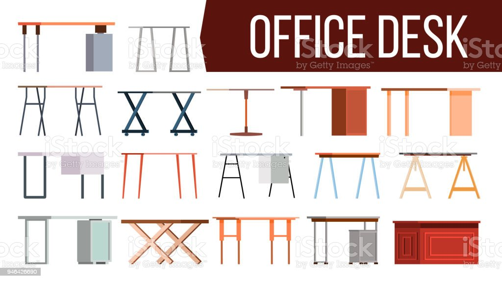 creative furniture icons set flat design. Office Desk Set Vector. Home Table. Creative Modern Desk. Interior  Table Workplace Creative Furniture Icons Set Flat Design