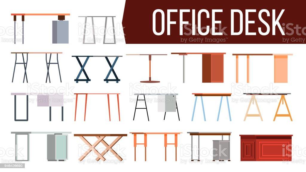 Office Desk Set Vector Home Table Office Creative Modern Desk